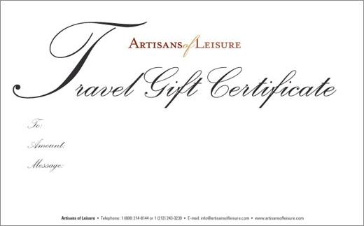 Luxury travel gift certificates - Artisans of Leisure - Luxury tours ...