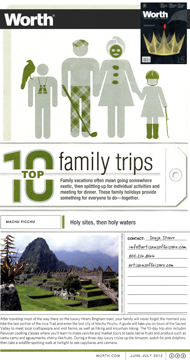 Worth Magazine Top 10 Family Trips article