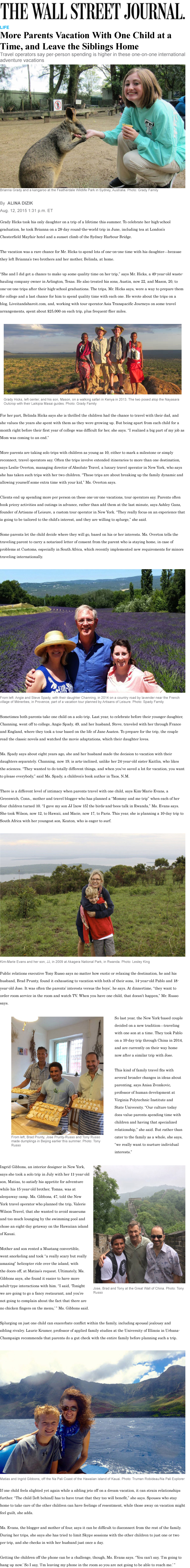 Wall Street Journal August 2015 Parents traveling with one child